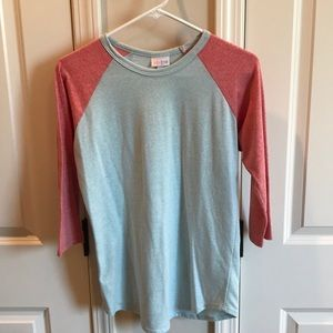 Lularoe mint and salmon baseball tee